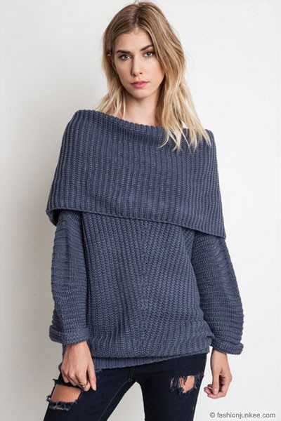 Chunky Thick Foldover Off The Shoulder Knit Sweater Top Grey Blue