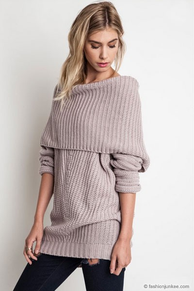 Chunky Thick Foldover Off the Shoulder Knit Sweater Top-Taupe