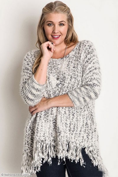 PLUS SIZE Chunky Thick Knit Sweater with Fringe Hem-Grey