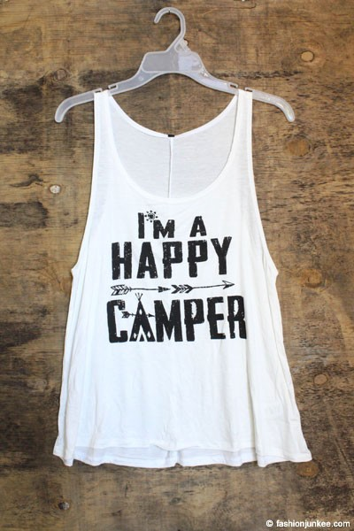 "Jersey Graphic Tank Top ""Happy Camper""-White"