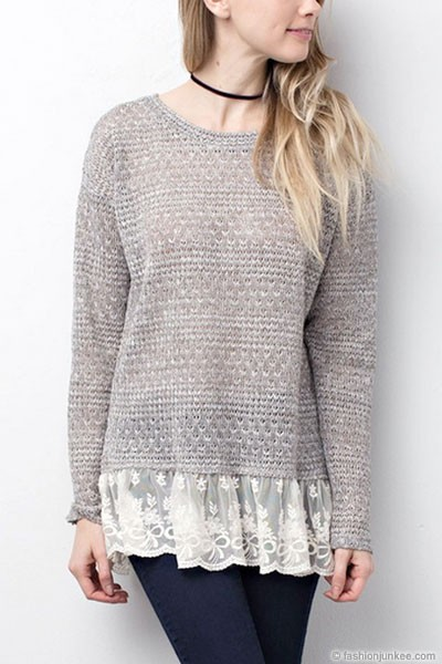 Knit Long Sleeve Tunic Top With Lace Trim Bottom Hem Grey
