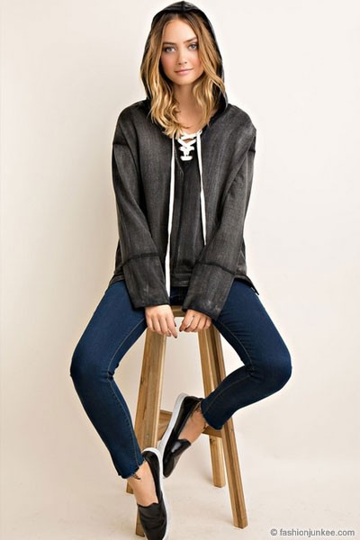 Loose Long Sleeve Lace Up V-Neck Hooded Tunic Top-Black