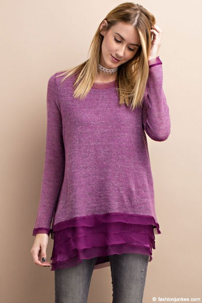 Layered Ruffle Bottom Long Sleeve Knit Chiffon Sweater Top-Purple