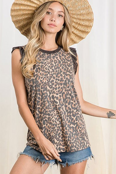 Animal Print Sleeveless Tank Top with Ruffle Sleeves-Leopard Print