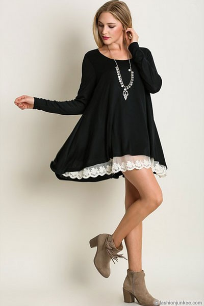 Long Sleeve Knit Lace Trim Hem Tunic Top-Black