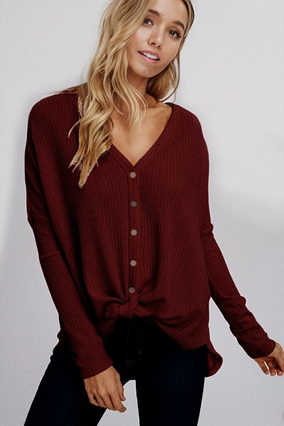 FLASH DEAL! ENDS SOON - Long Sleeve Henley Thermal Waffle Knit Button Up Top with Front Knot-Burgundy Wine