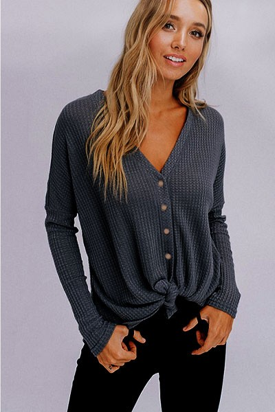 FLASH DEAL! ENDS SOON - Long Sleeve Henley Thermal Waffle Knit Button Up Top with Front Knot-Grey