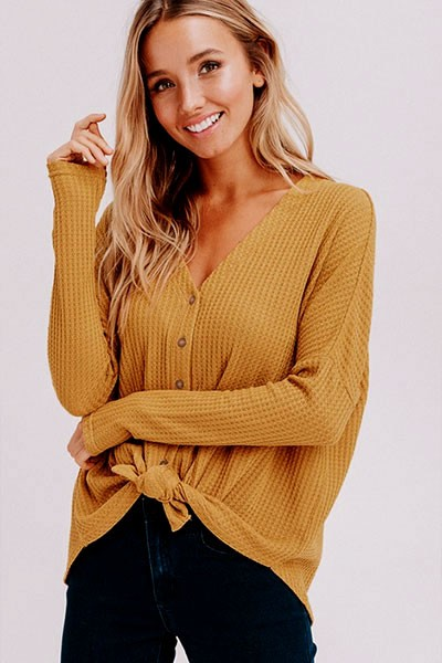 FLASH DEAL! ENDS SOON - Long Sleeve Henley Thermal Waffle Knit Button Up Top with Front Knot-Mustard Yellow