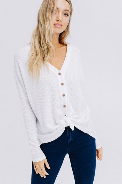 FLASH DEAL! ENDS SOON - Long Sleeve Henley Thermal Waffle Knit Button Up Top with Front Knot-Off White
