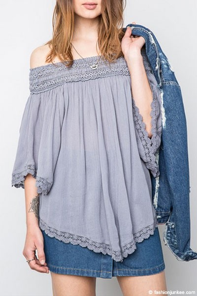 FLASH SALE: Flowy Off the Shoulder Lace Tunic Top-Grey