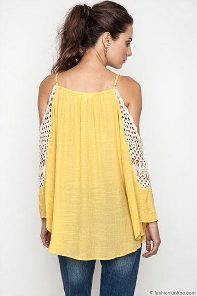 Boho Long Sleeve Open Shoulder Crochet Tunic Top-Mustard