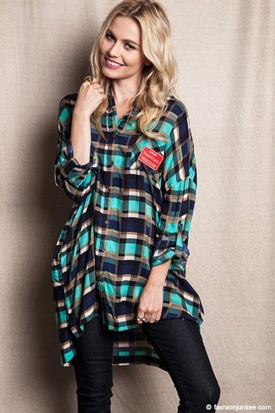 FLASH DEAL: Oversized Loose Plaid Button Up Top-Blue Green