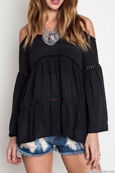FLASH DEAL: Boho Long Sleeve Cold Shoulder Bell Sleeve Peasant Top-Black
