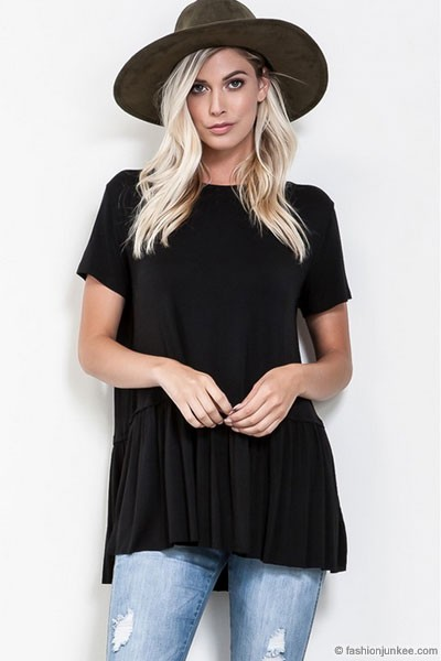 Basic Short Sleeve Loose Peplum Top-Black