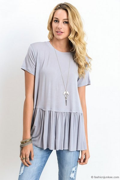 Basic Short Sleeve Loose Peplum Top-Grey