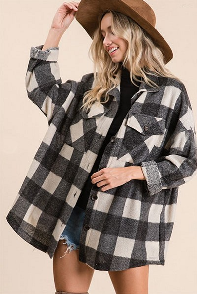 Buffalo Plaid Check Print Knit Boxy Button Up Top-Black and Off White
