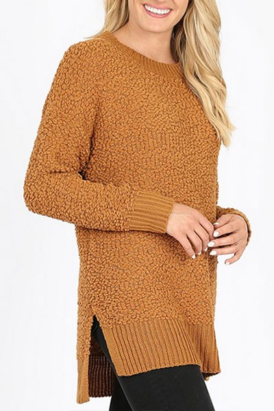 Long Sleeve Soft Popcorn Sweater-Coffee Brown