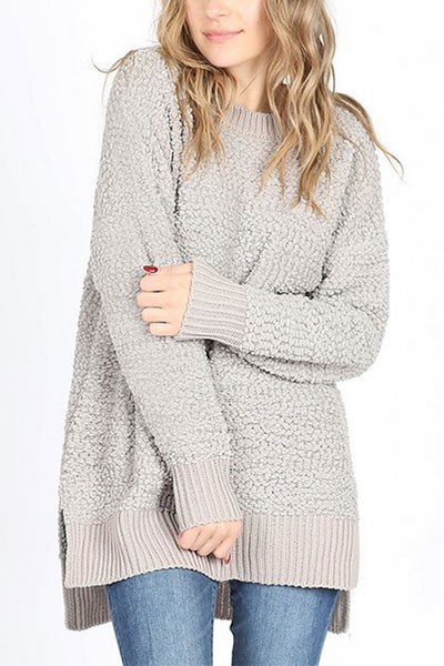 Long Sleeve Soft Popcorn Sweater-Light Grey