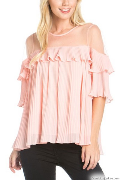 :As Seen In PEOPLE STYLEWATCH Magazine: Adorable Pleated Top with Ruffle Shoulder-Pink