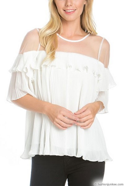 :As Seen In PEOPLE STYLEWATCH Magazine: Adorable Pleated Top with Ruffle Shoulder-White