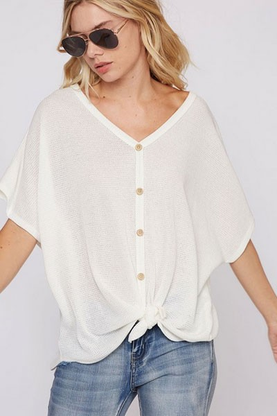 Short Sleeve Thermal Button Up Waffle Knit Knotted Top-Ivory Off White