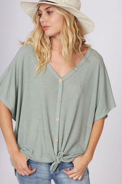 Short Sleeve Thermal Button Up Waffle Knit Knotted Top-Sage Green
