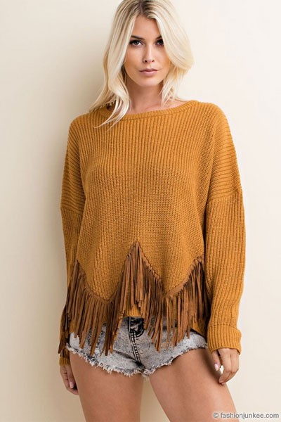 Suede Fringe Long Sleeve Thick Knit Boho Sweater Top-Dark Mustard