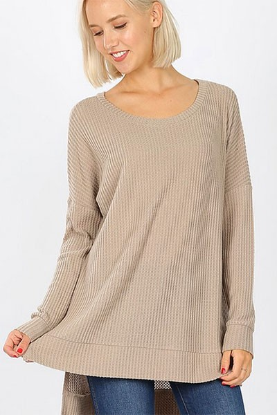 Long Sleeve Thermal Waffle Knit Tunic Top-Mocha Taupe