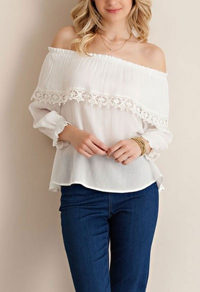 Off the Shoulder Flowy Overlay Top-White