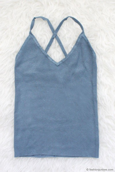 Knit V-Neck Tank Top-Blue