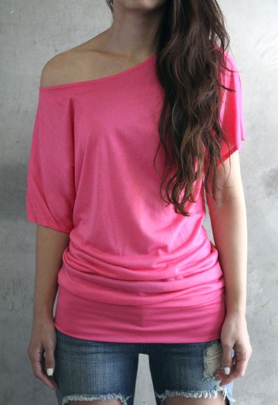 VICTORIA Jersey Short Sleeve Banded Off the Shoulder, Boat Neck Tunic Top-Hot Pink